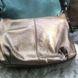 coach gold leather crossbody bag